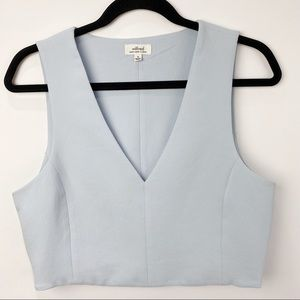 Aritzia Babaton blue v neck crop top